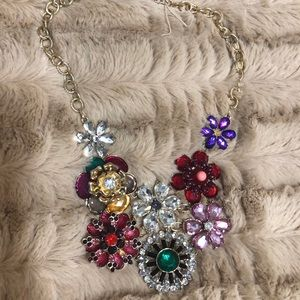 Gold necklace with multicolor gems